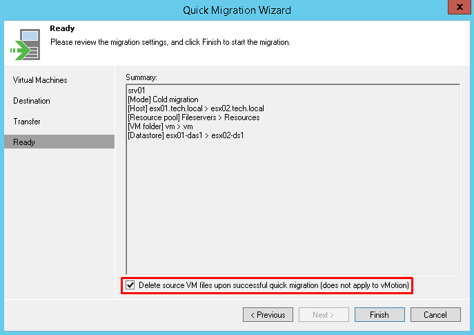 Delete source VM files upon successful migration