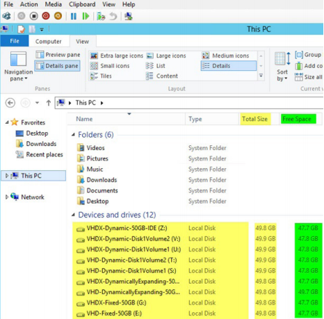 Figure 8. The OS reports the size of the LUNs that are assigned and that are free space inside the VM