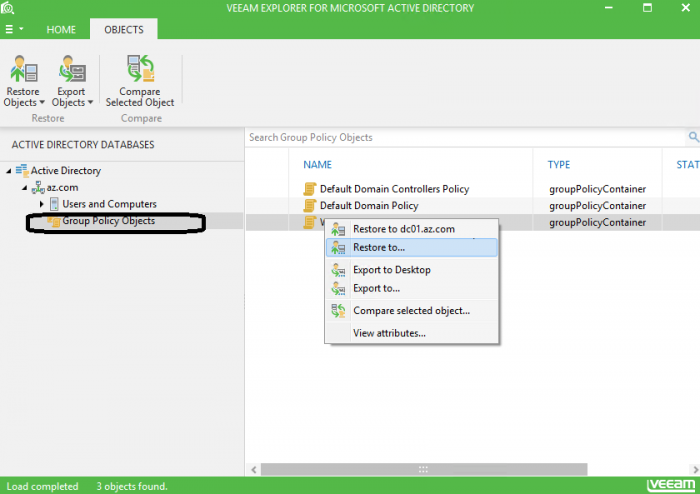 Figure 1. Veeam Explorer for Microsoft Active Directory GPO options