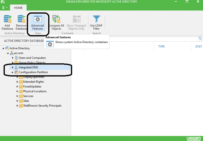 Figure 3. Veeam Explorer for Microsoft Active Directory Advanced features