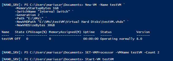Setting up Nano Server with Hyper-V Role 10