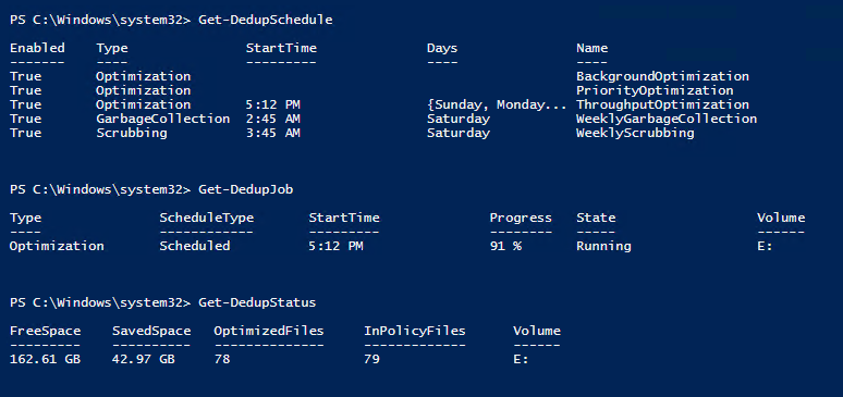 Figure 2. Useful PowerShell cmdlets for Dedup