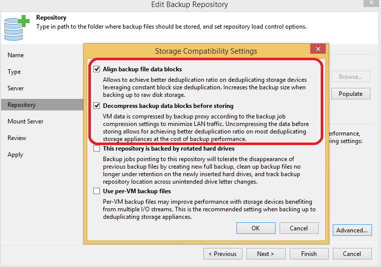 Figure 4. Backup repository settings to be used with Windows Dedup