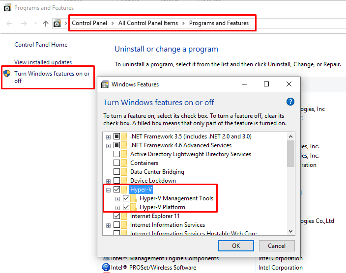 Enable Hyper-V on Windows 10