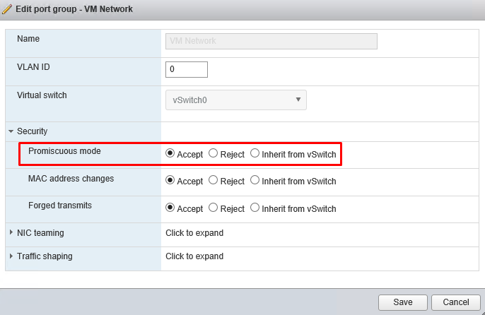 Modify promiscuous mode in network switch settings