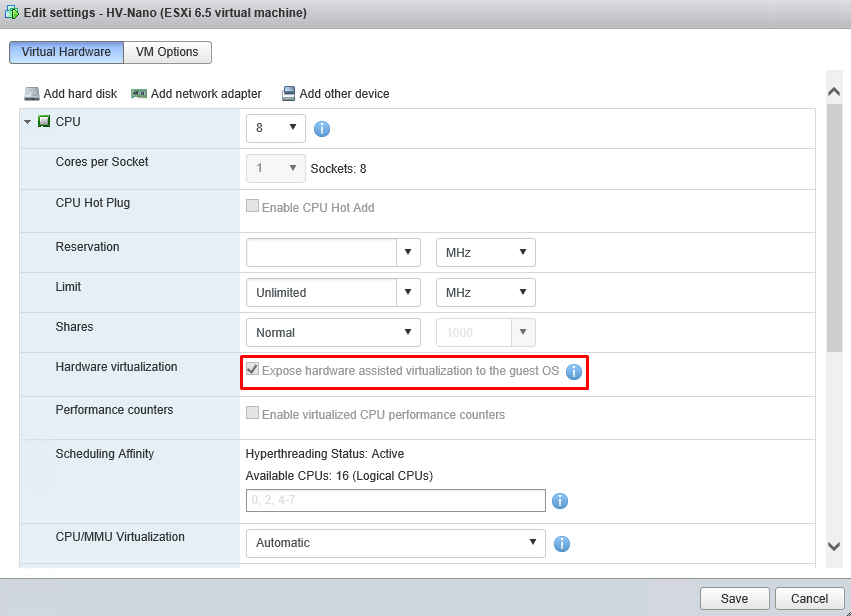 Settings for ESXi 6.5