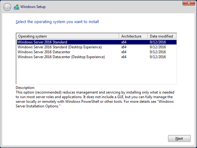 Windows Server 2016 Core installation step-by-step