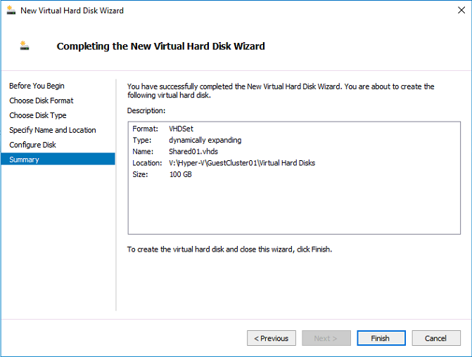 How to create VHD sets