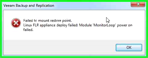 Linux FLR appliance deploy fail