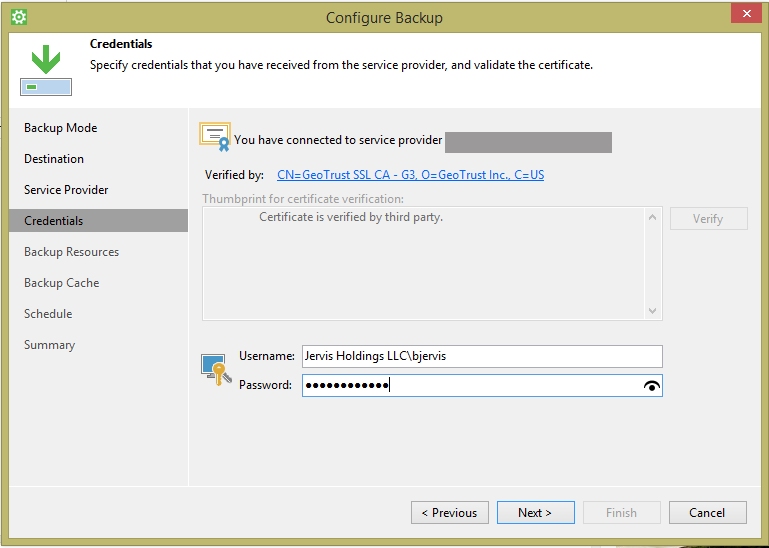 Backup to a cloud provider with Veeam Agent for Microsoft Windows