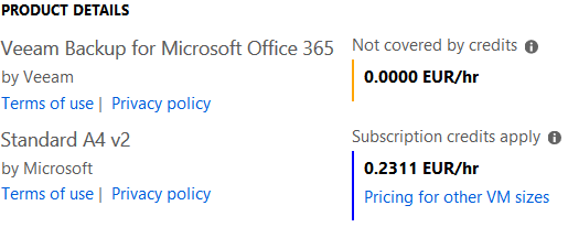 VBO365 Azure pricing