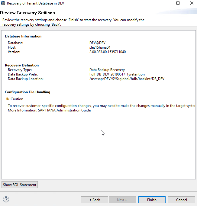 SAP HANA Tenant Database Retention, System Copy and Recovery