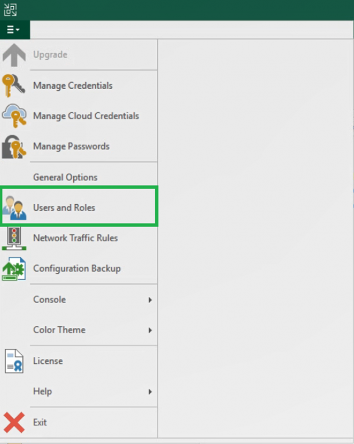 """Navigating to """"Users and Roles"""" section in the Veeam Backup & Replication console menu"""