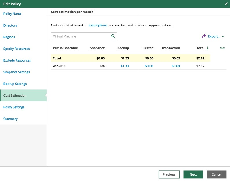 Veeam Backup for Microsoft Azure cost estimation view