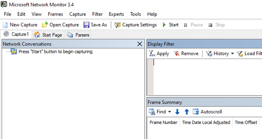 Viewing a Microsoft Network Monitor New Capture screen before it has started capturing