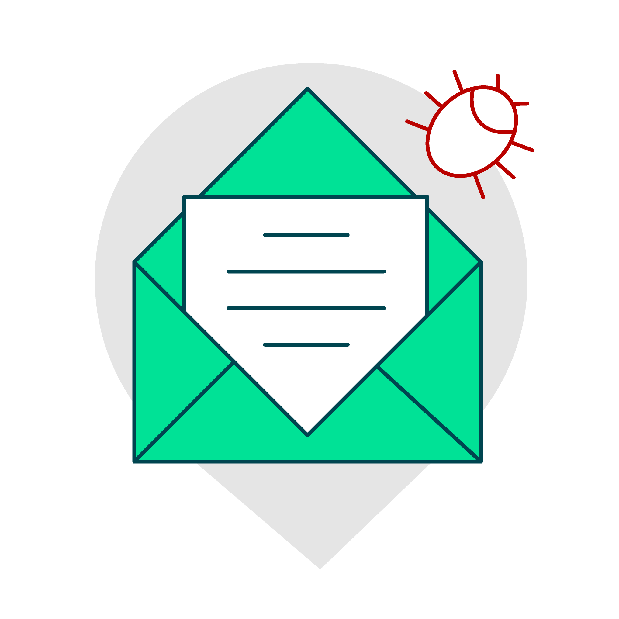An email with file attachments or links in the email body.