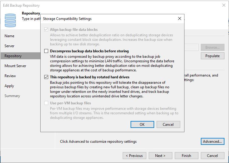 Storage Compatibility Settings
