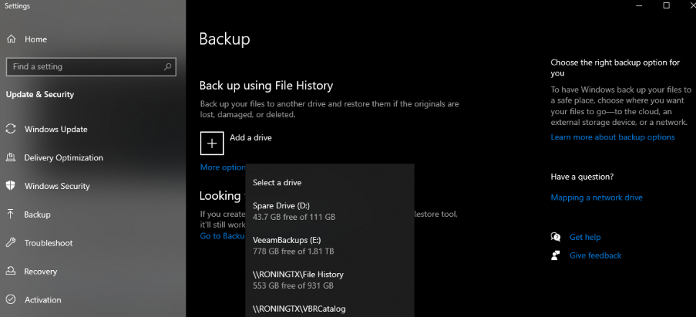 Backup using File History. Adding a drive