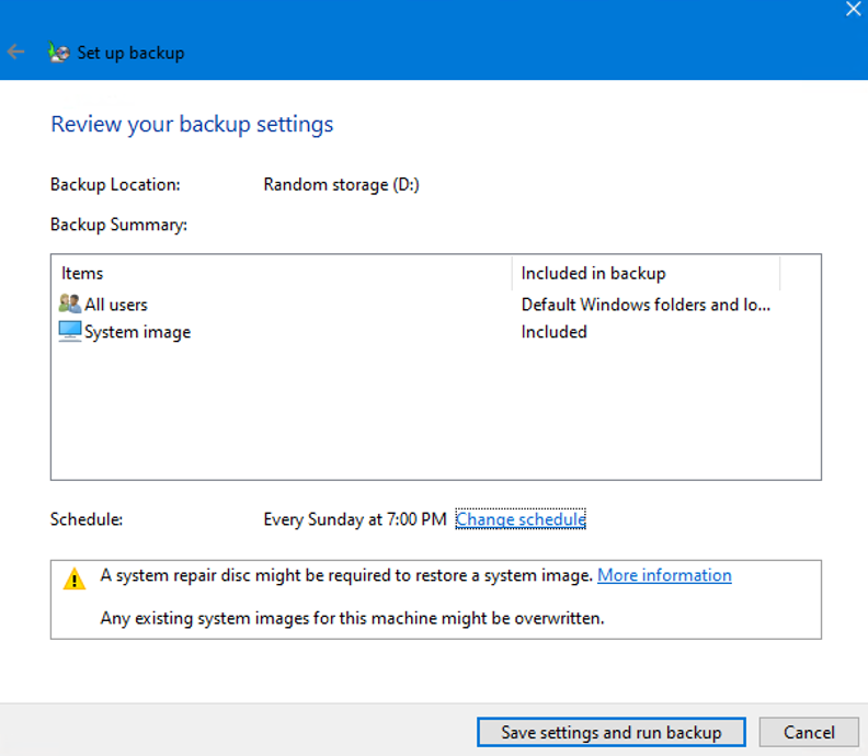 Review Backup Settings