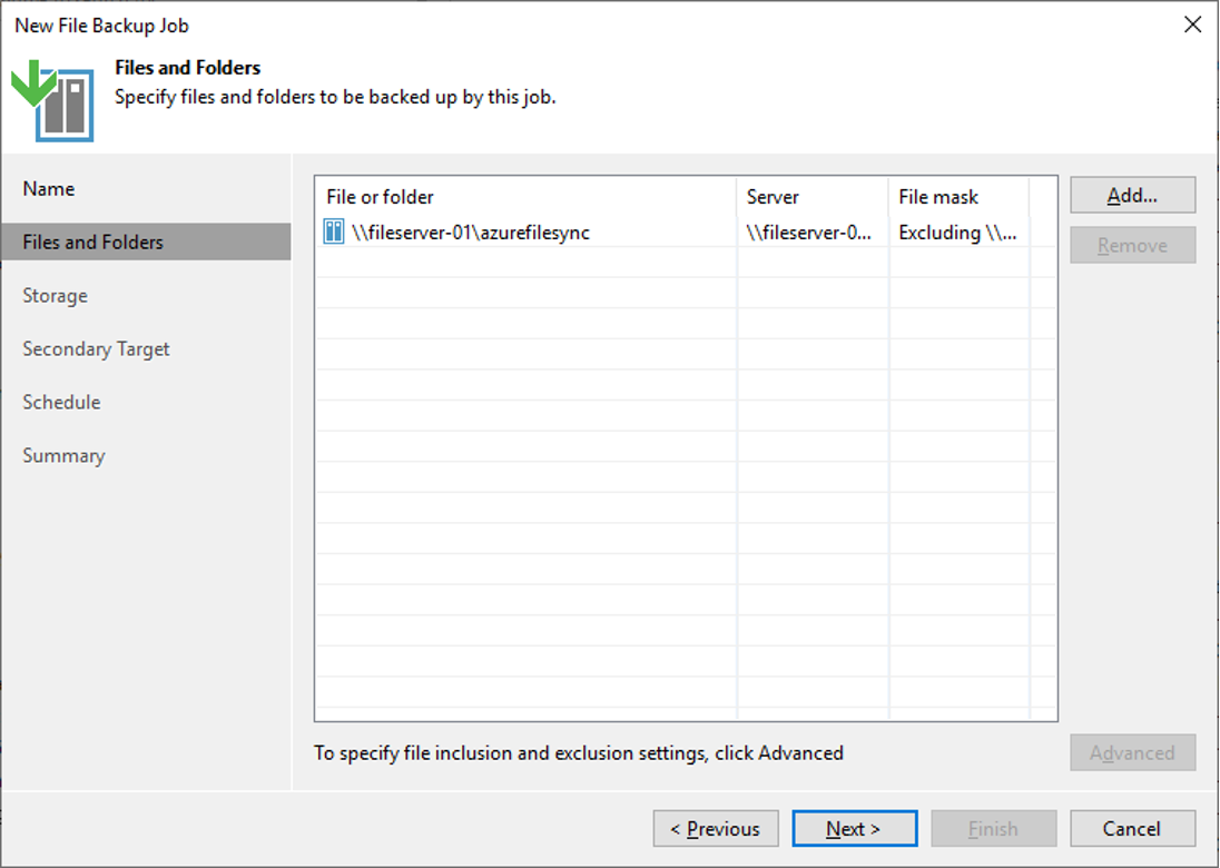 Figure 5: Add file share to backup job