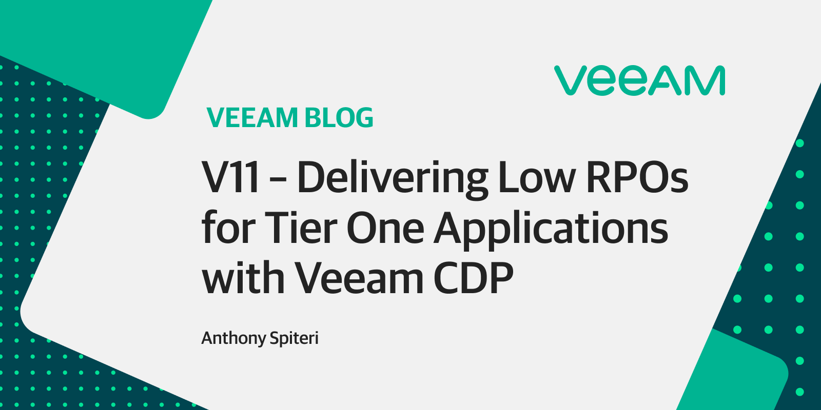 V11: Delivering low RPOs for Tier One applications with Veeam CDP