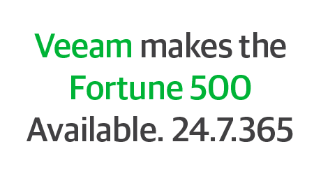 Veeam makes the Fortune 500 Available. 24.7.365