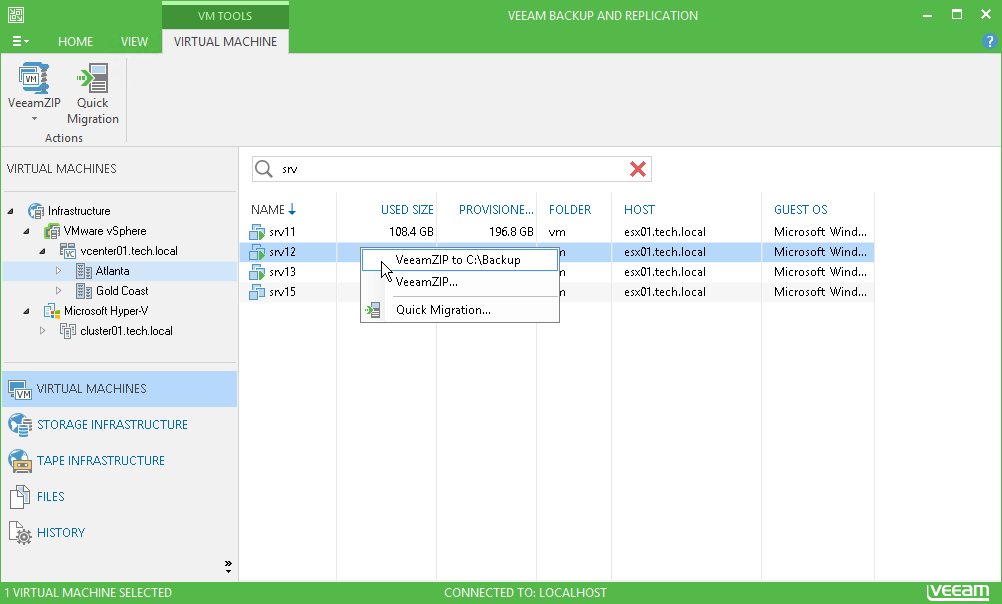Create ad-hoc backups of live VMware and Hyper-V VMs for operational, portability or archival purposes.