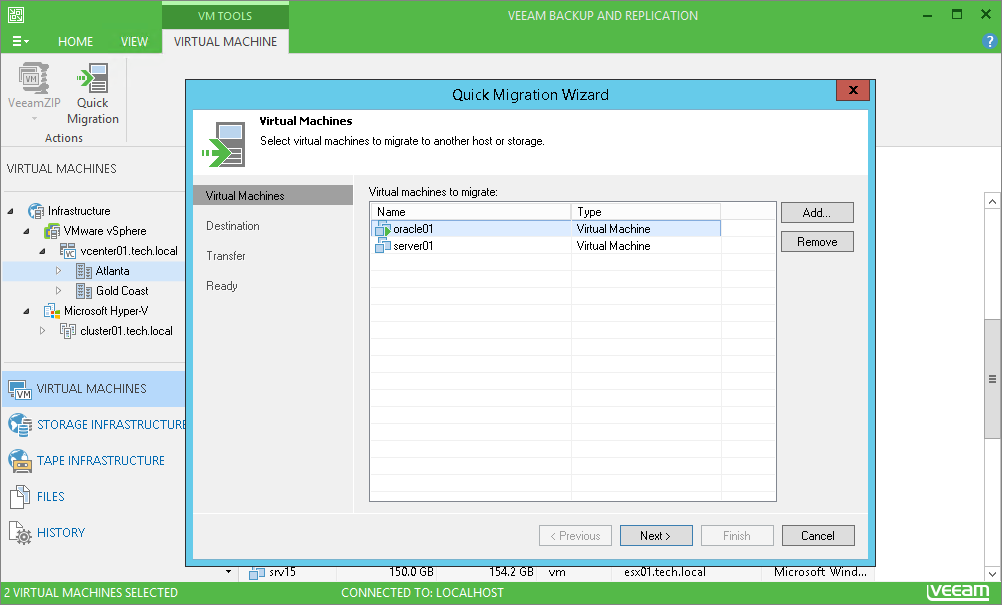 With Veeam Backup Free Edition, you can migrate a live VMware VM to any host or datastore — even if you don't use clusters or shared storage.