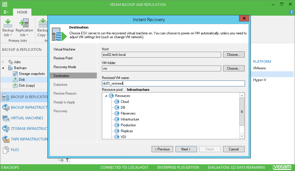 You can use Instant VM Recovery both for restoring the production VM as well as for performing DR testing.