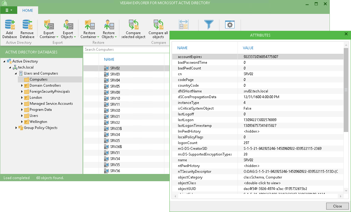 Free Active Directory objects restore & recovery – Veeam Explorer