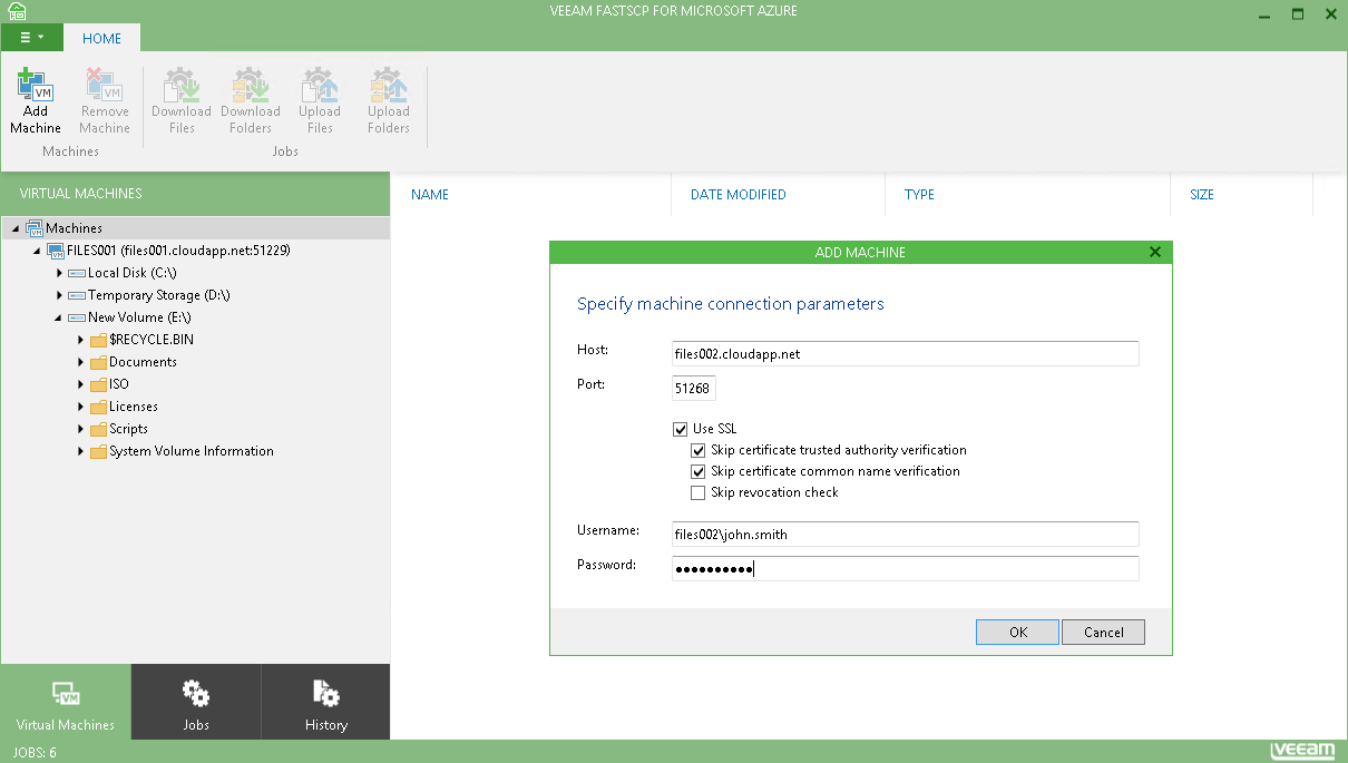 Connect Azure VMs to upload and download files and folders