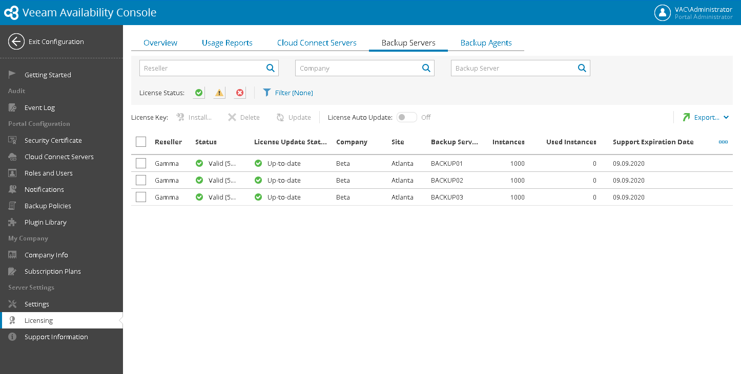 Track the number of licenses Veeam Backup Agents across multiple managed client sites
