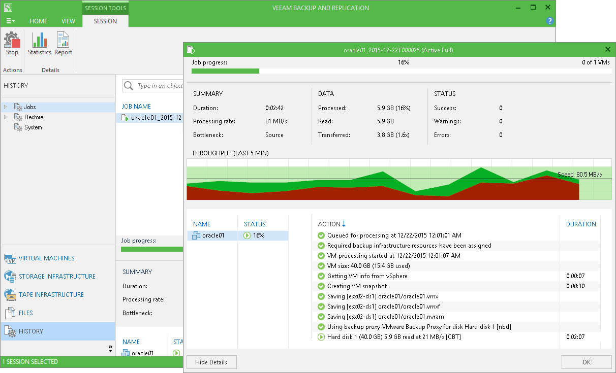 You can track the VeeamZIP task performance in the real-time mode