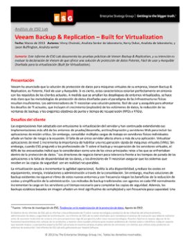 Análisis de Laboratorio de ESG de Veeam Backup & Replication – Built for Virtualization