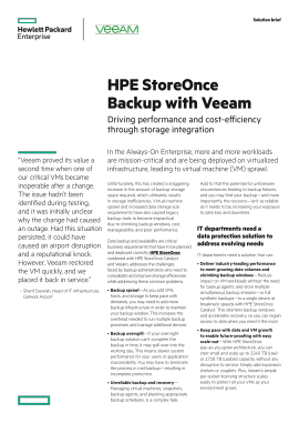 Solution Brief: HPE StoreOnce Backup with Veeam