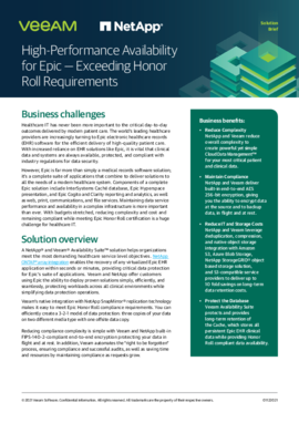 High-Performance Availability for Epic — Exceeding Honor Roll Requirements