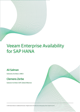 Veeam Enterprise Availability for SAP HANA